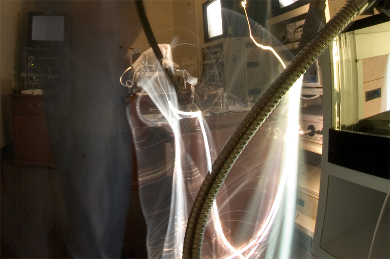 A photograph created with a long shutter captures light degradation in the light cables of old laparoscopic systems now relegated to the lab. When the image quality is not optimal during a laparoscopic case, there can be many sources to the problem. The problem can be in the scope (or the lens system), the camera (the recording device), the monitor (the device that displays the information), or the light cable that is providing the amount of light needed to illuminate the entire abdomen through a very small opening