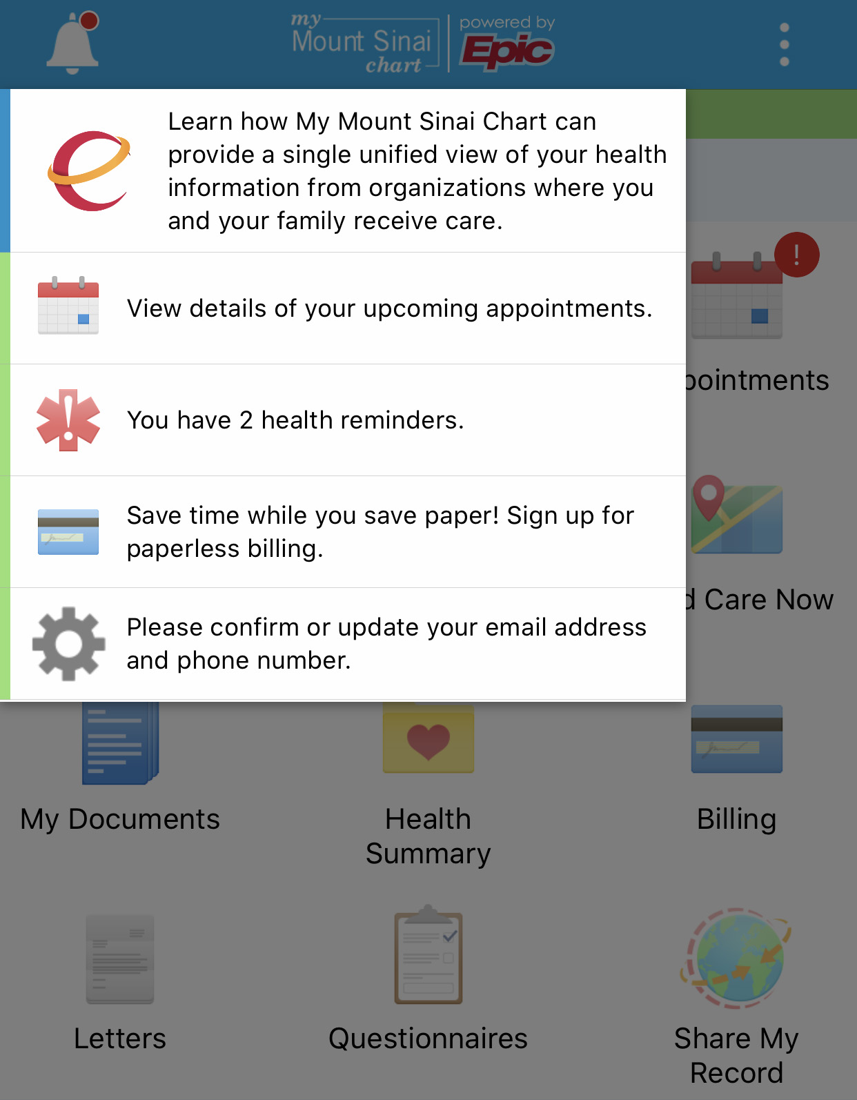 Appointment Icon on MyChart App