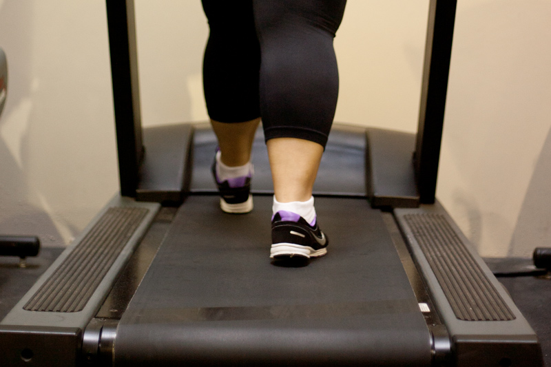 Obese person on treadmill